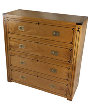 british campaign chest of drawers with sunburst carved drawer fronts