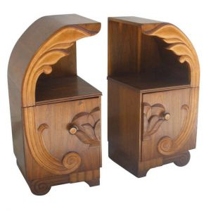 Pair-of-Deco-Period-Teak-and-Rosewood-Side-Tables-with-Lotus-Motif