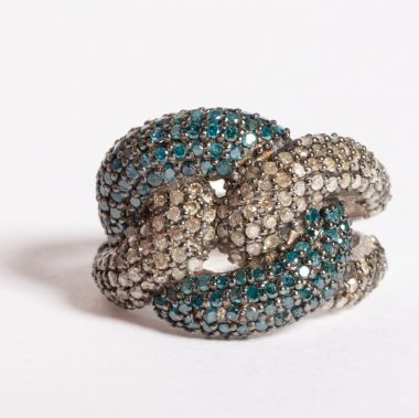 Blue Topaz and Diamond Knot Ring-JR2019-3