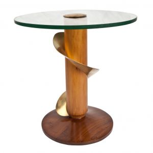 Pair of Deco Period Teak, Brass and Glass Side Tables - FTD2017-15