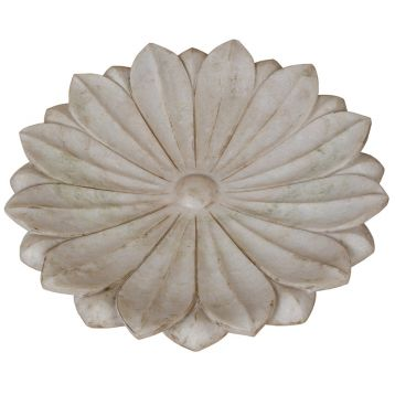 Large Hand-carved Marble Lotus Flower Plate   (FD0201603)