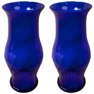Pair of Hand-blown Cobalt Hurricane Shields (LH0201303)